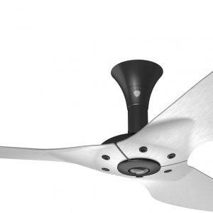 Haiku Ceiling Fan: 52″, Brushed Aluminum, Low Profile Mount: Black