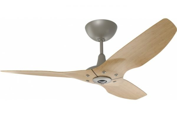 Haiku Outdoor Ceiling Fan: 84″, Caramel Woodgrain Aluminum, Universal Mount: Satin Nickel