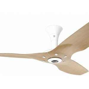 Haiku Outdoor Ceiling Fan: 60″, Caramel Woodgrain Aluminum, Low Profile Mount: White