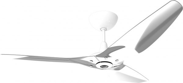 Haiku Ceiling Fan: 84″, Polished Aluminum, Universal Mount: White